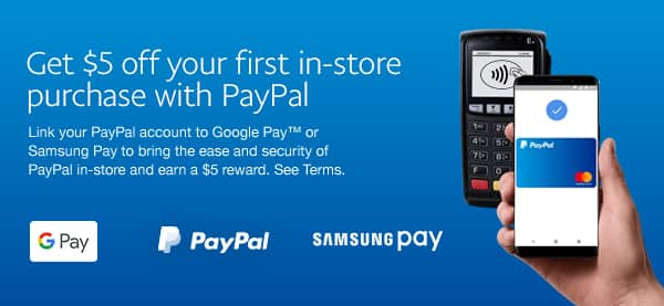 link paypal to google pay or samsung pay to get 5 off ymmv check