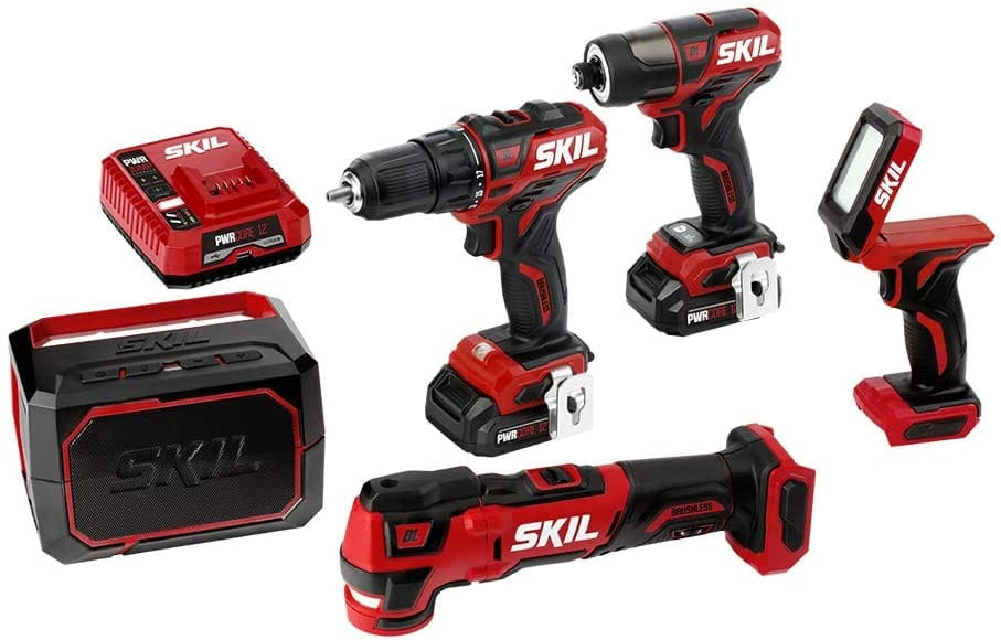 SKIL 5-Tool ComboKit PWRCore 12V 1/2 Inch Drill Driver, 1/4 Inch Hex Impact Driver, Oscillating Multicolor, Area Light and Bluetooth Speaker, two 2.0Ah batteries, charger $151.40