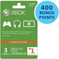 Microsoft Xbox Live 3-Month (or 3+1 Month) Gold Membership + Free 400 Microsoft Xbox Live Points for $14.99 + Free Shipping or In-store Pickup