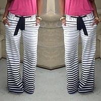 SammyDress Deal: $ 7.95 - Womens Casual Low-Waisted Drawstring Striped Loose-Fitting Pants