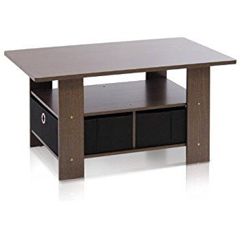 Furinno 11158DBR/BK Coffee Table with Bins, Dark Brown/Black $20.14 + ship @amazon