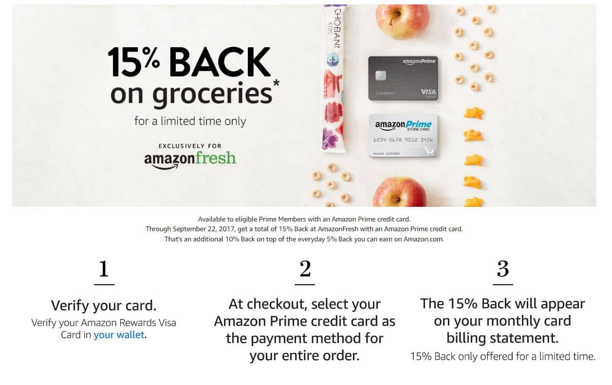 15% Back on Amazon Fresh for Prime Members with a Prime Credit Card