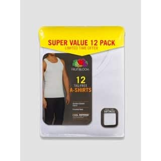 Fruit of the Loom Men's 6+6 Super Value Pack Tank Undershirt - White $14.99 PLUS $5 Giftcard on $25