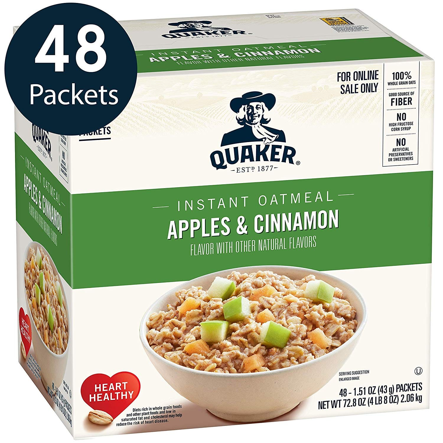 Quaker Instant Oatmeal, Original or Apples & Cinnamon, Individual Packets, 48 Count $6.55+ w/SS & 25% coupon
