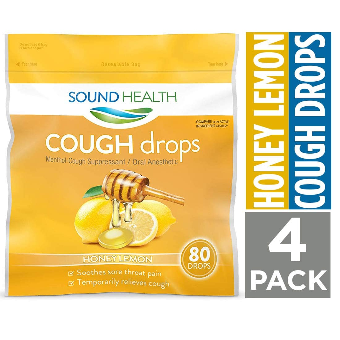 SoundHealth Honey Lemon Cough Drops - 80 count bags, pack of 4 - $6.94 after 15% off coupon and 5% S&S