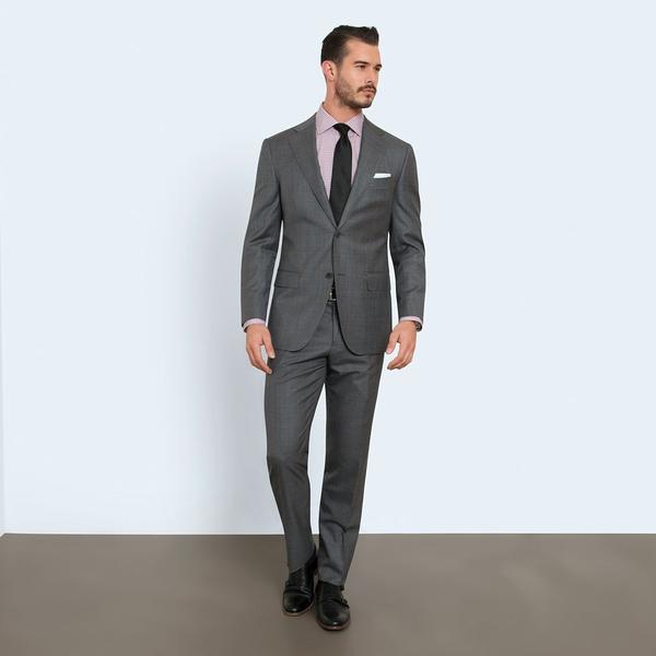 Combatant Gentleman: Super 110s Italian Wool Sharkskin Suit - $110 AC FS and Free Returns