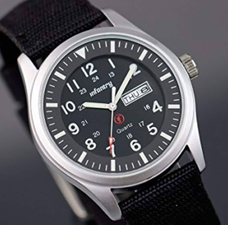 Men's Military Style Analog Watch Black Nylon Strap Day amp; Date Now $12.49
