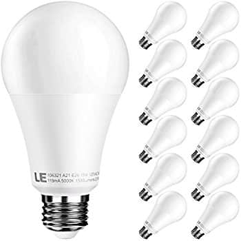 LE Pack of 12 Dimmable 15W A21 E26 100W Bulbs Equivalent LED Bulbs-Daylight White $29.99 A/C + Free Prime Shipping