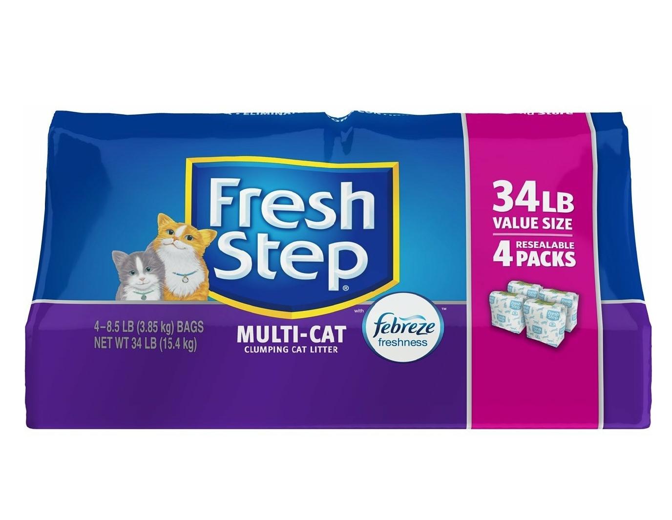 34-Lbs Fresh Step Multi-Cat Clumping Cat Litter (Febreze Scent) $12.79AC @ Amazon *Live Again*