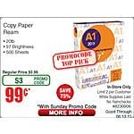 Copy Paper Ream, 500 sheets, $1, AC, BM, Fry's