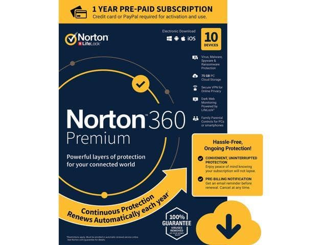Norton 360 Premium - 10 licenses/1yr $26( download or key card (FS)), Newegg, $26, AC