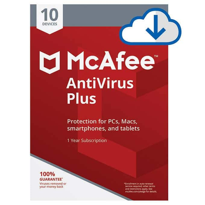 McAfee Antiirus, 10 users, 1 yr, $20, Costco