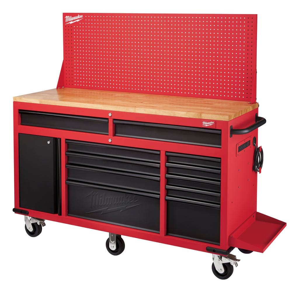 """Milwaukee 61"""" 11-Drawer & 1-Door Mobile Workbench w/ Pegboard Back Wall - $798 - In-Store Only @ Home Depot - YMMV"""