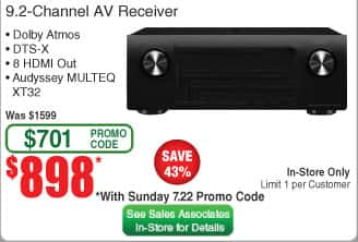 Denon AVR-X4400H 9.2 channels AV Receiver $898 + tax in store only, Sunday's Fry's promo code 7/22 to 7/29