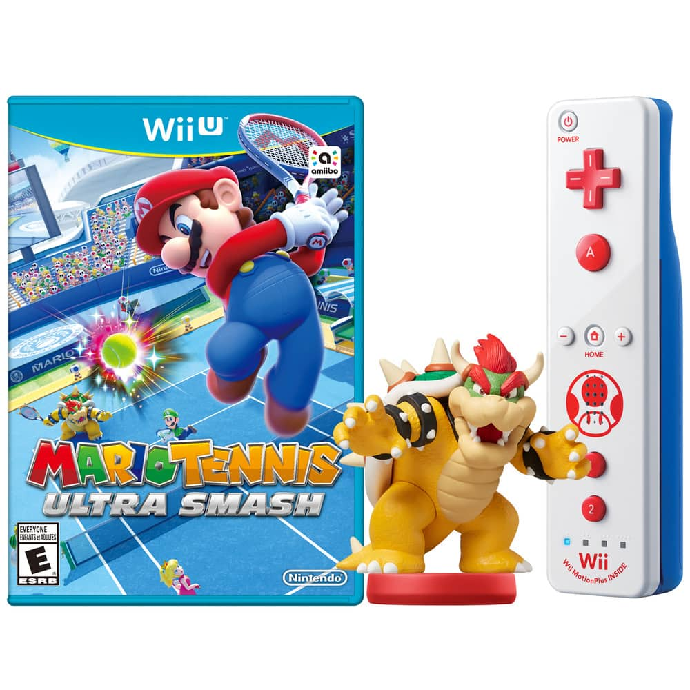 Mario Tennis: Ultra Smash + Bowser amiibo + Toad Wii Remote Plus Bundle (Wii U) $34.99