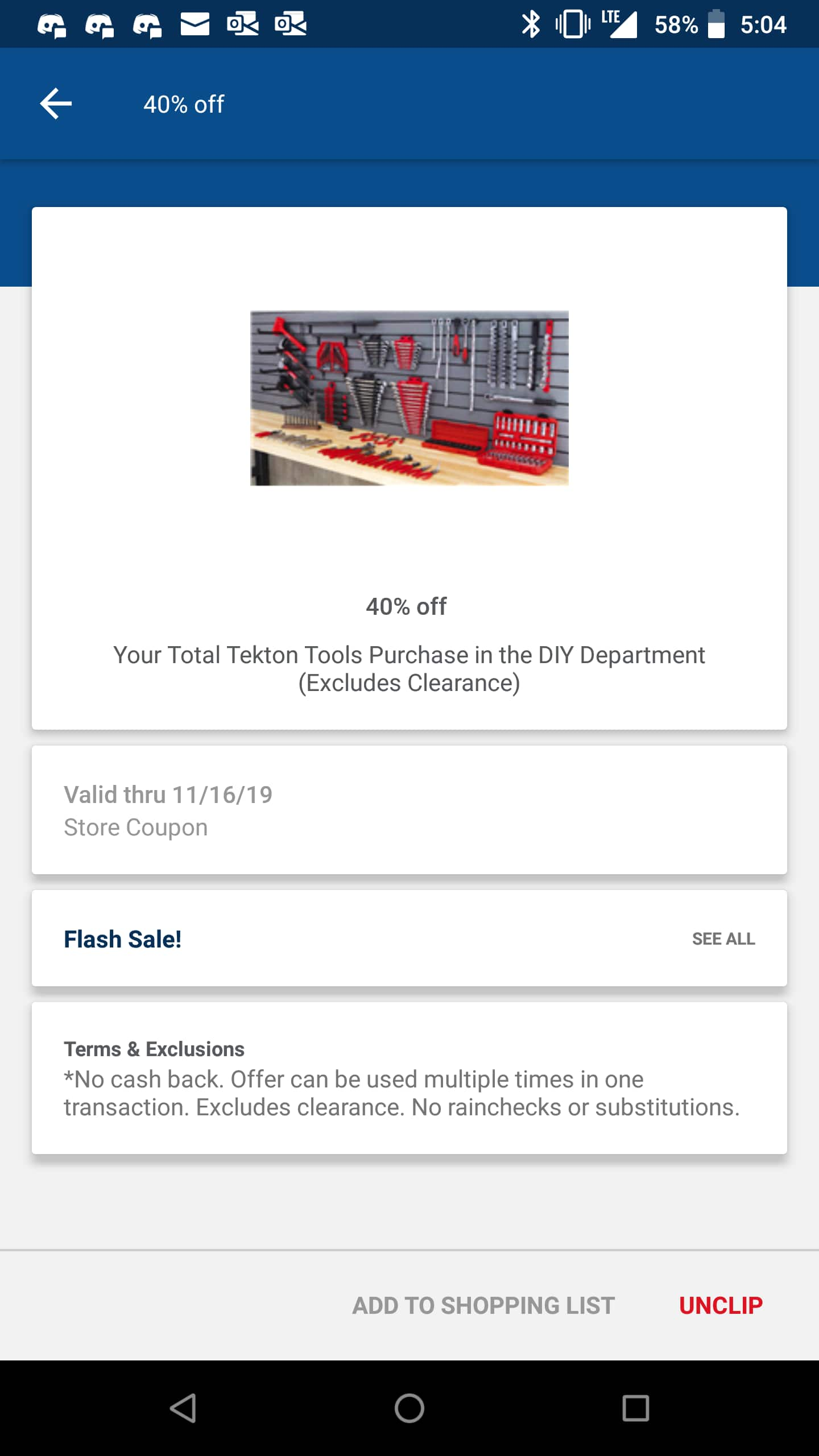 40% off Tekton tools at Meijer stores using MPerks flash coupon (expires 11/16/19)