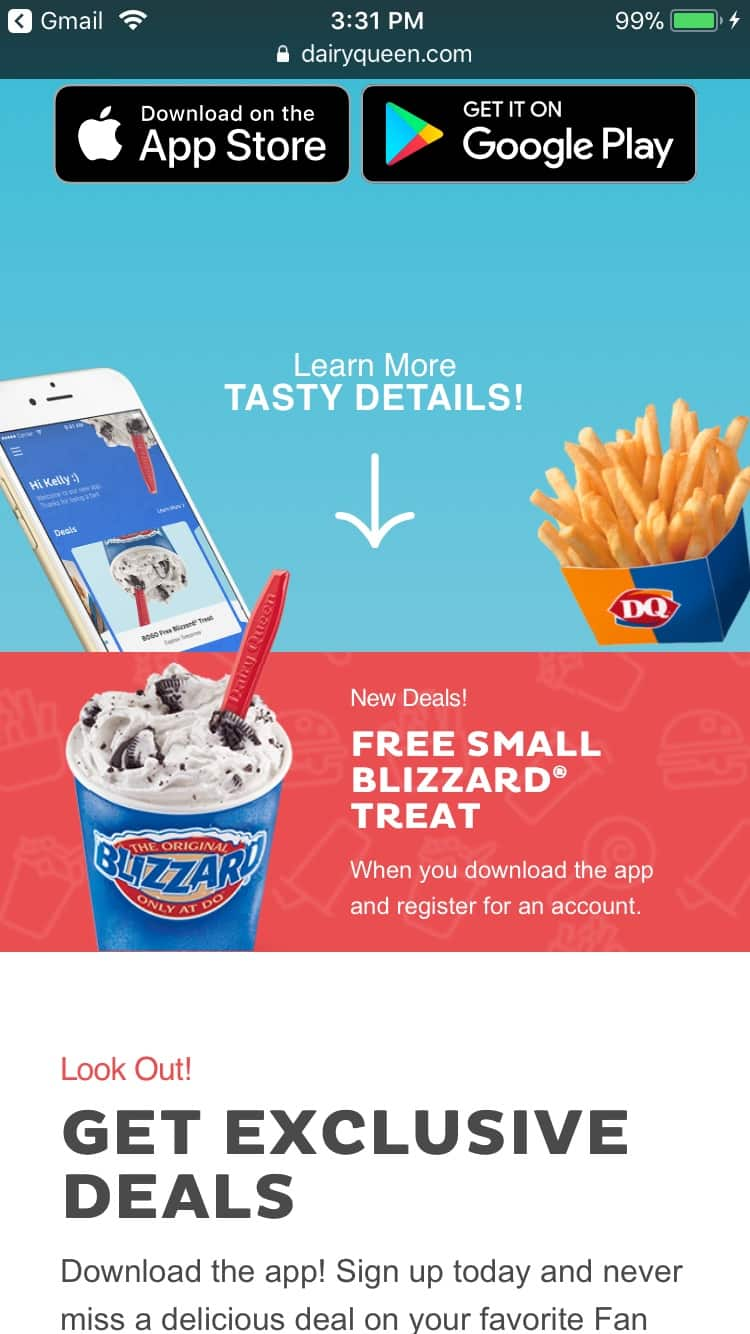 Free Small Blizzard from Dairy Queen with mobile app download and account registration