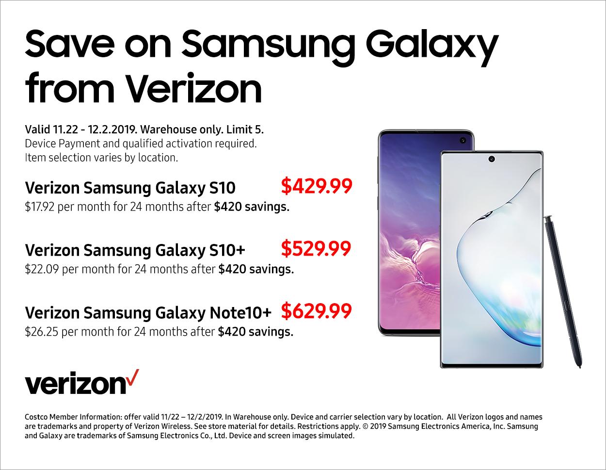 Costco Wholesale 2019 Holiday Sale: Samsung Galaxy (Verizon) $430.08