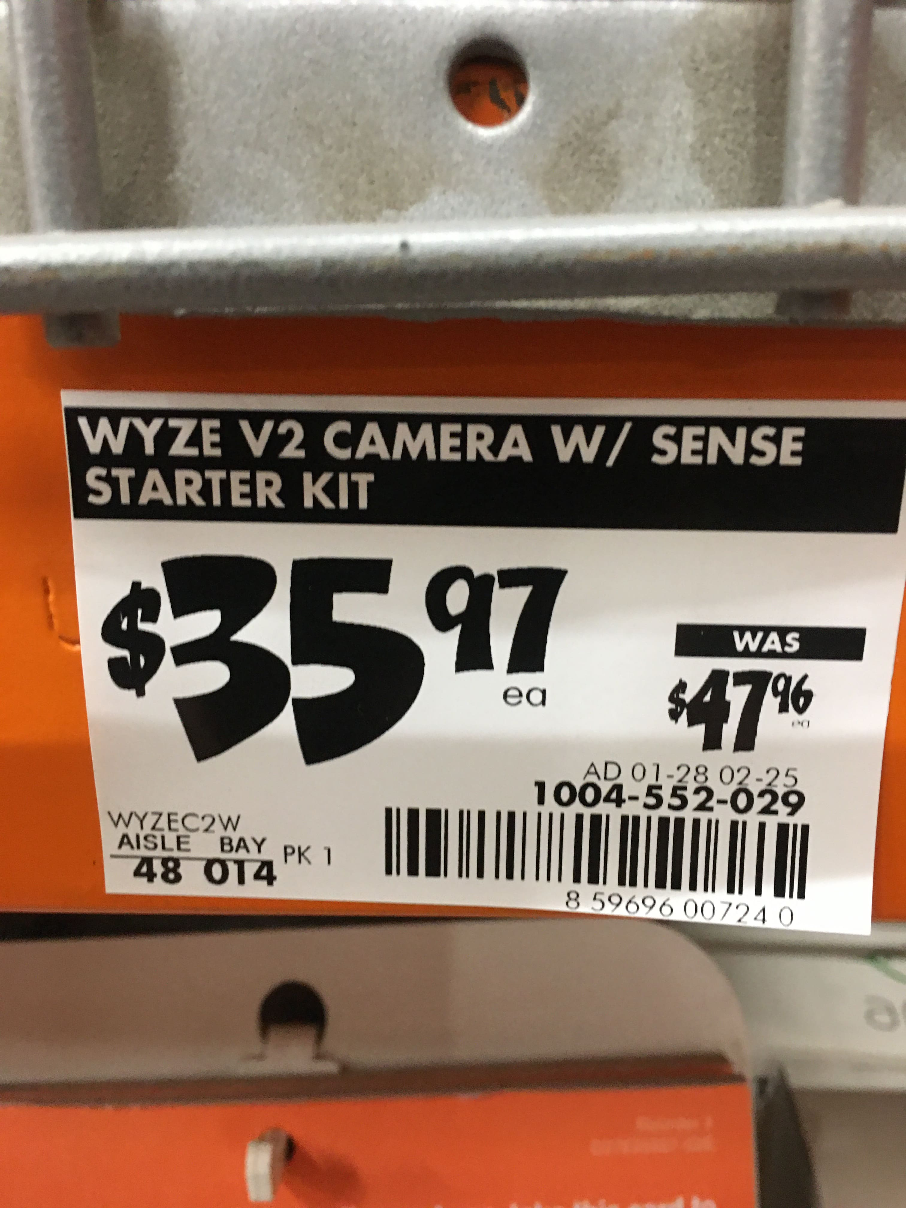 Wyze Cam V2 1080P Indoor Smart Home Camera with Wyze Sense Starter Kit $35.97 in-store (YMMV) - Home Depot