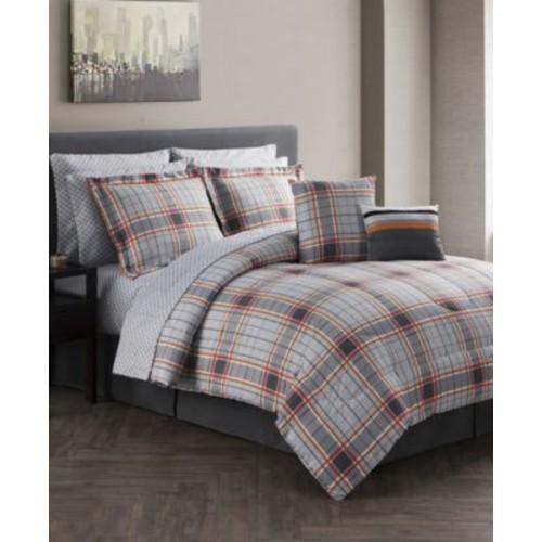 CLOSEOUT! Jasper Reversible 12-Pc. Gray Queen Comforter Set $39.97