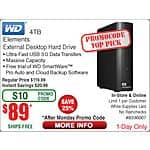 Western Digital Elements 4TB External Hard Drive USB 3.0 Monday One Day Special B&M only @ Frys w/promo code $89