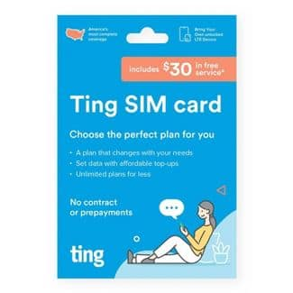 Ting Mobile - Sim Card Kit w/$30 service credit included for $1 @ Target & Best Buy