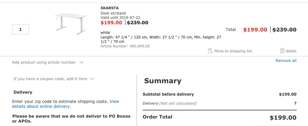 Ikea SKARSTA Manual Adjust Stand-up Desk, $40 off, $199