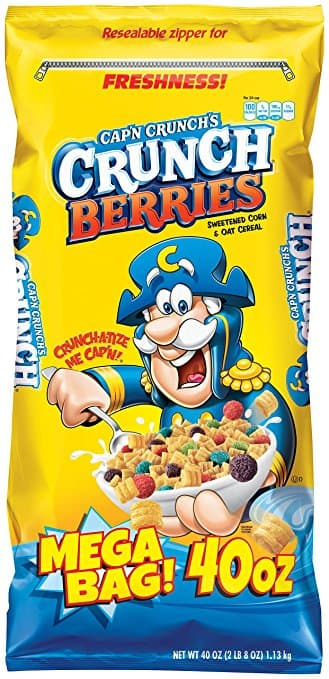 Cap'n Crunch Crunch Berries Breakfast Cereal, Mega Size 40 oz. Bag (Pack of 4 Bags) $13.94 after coupon and 15% S&S