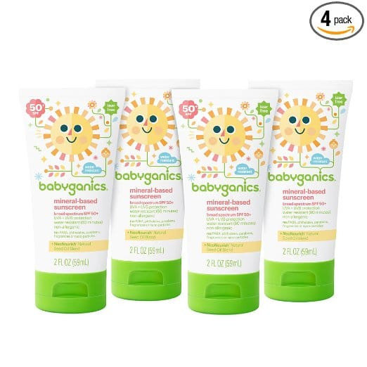 4-Pack 2oz Babyganics Mineral-Based Baby Sunscreen Lotion for $12.77 AC+SS+ FS @Amazon (Store Back)