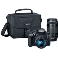 Canon EOS Rebel T6 DSLR Camera with 18-55mm and 75-300mm Lenses Kit - Black $324