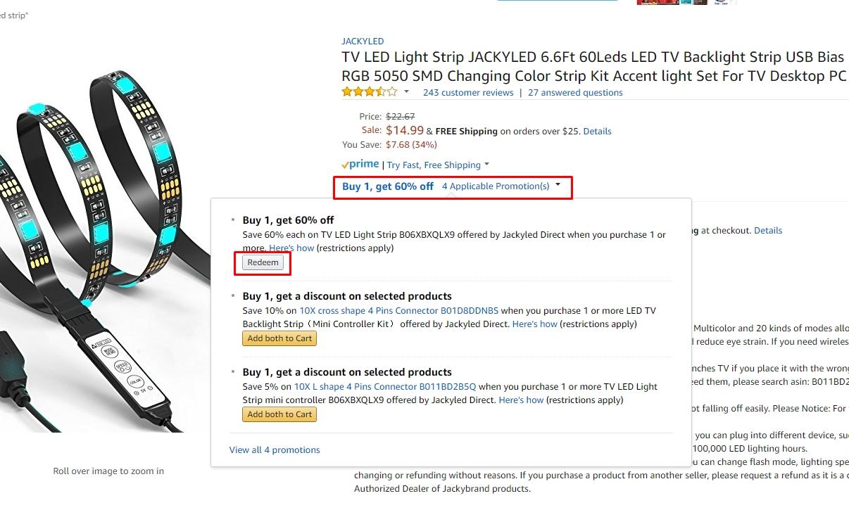 6.6' JACKYLED TV LED Color Changing Backlight Strip (60-Leds) $6 at Amazon.com