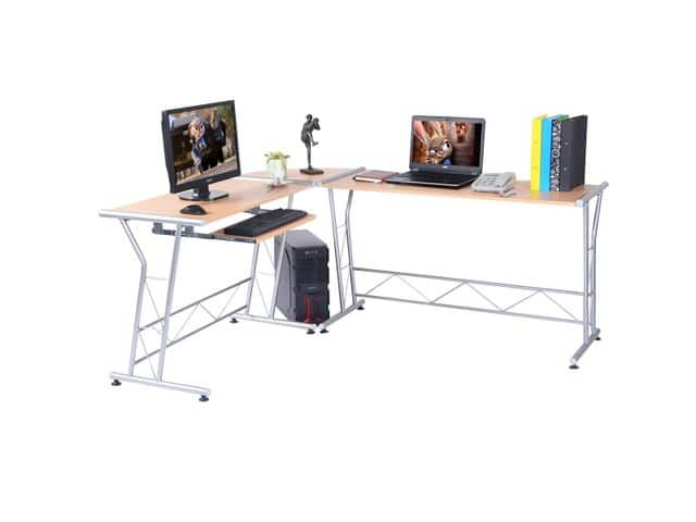 "L-shape Wood Desk 69""/58""x20""x30"" from Newegg for $72.95 + Free Shipping"
