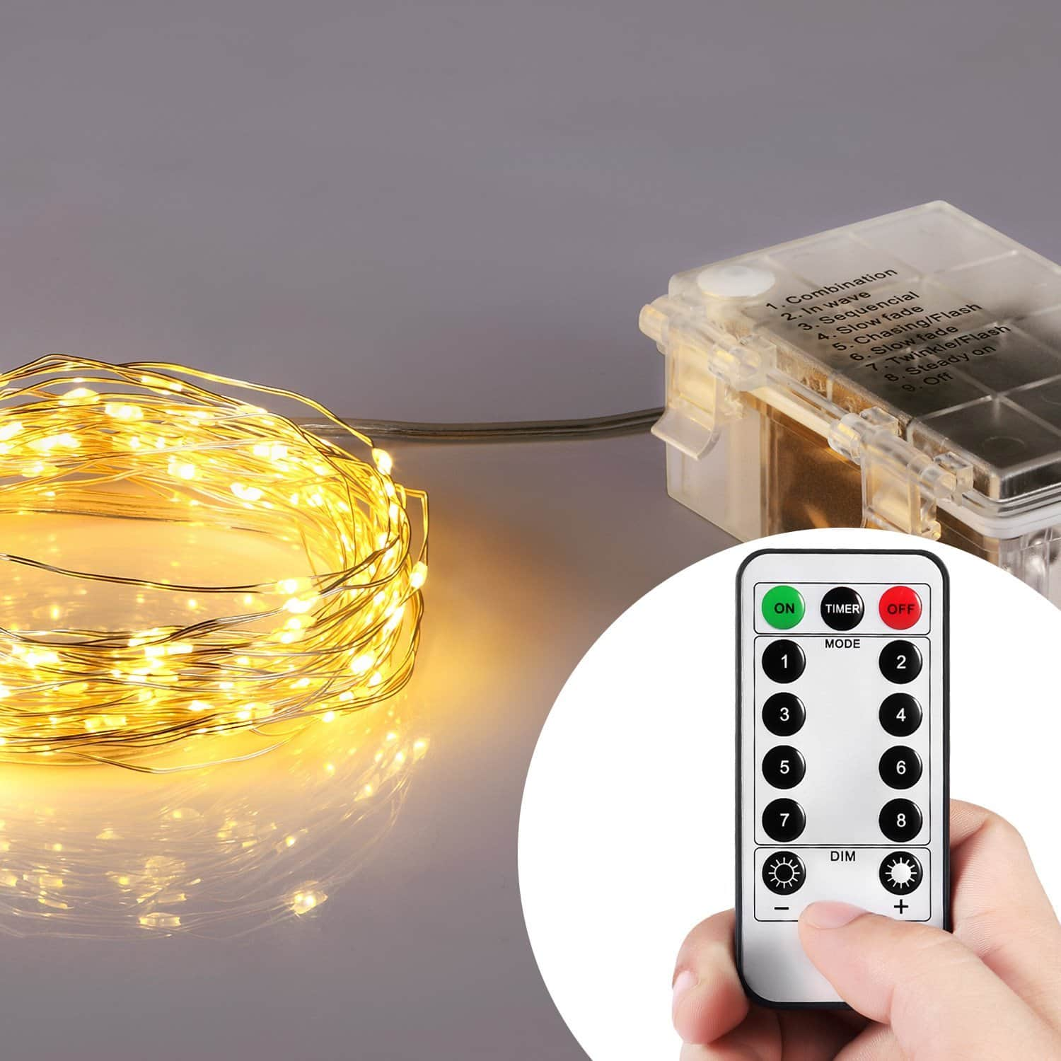 Homestarry Battery Operated Micro LED String Lights, 32-Feet with Wireless handheld remote control $12.50