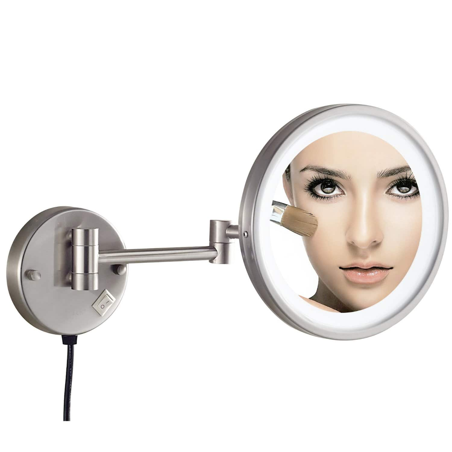 Wall Mounted LED Adjustable 8.5in. Mirror with 7x Magnification - $35.99 AC + FSSS