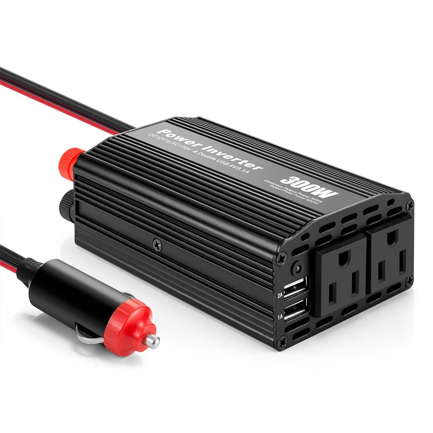 300W Vehicle Power Inverter DC 12V to 110V AC Outlets and Car Inverter with 3.1A Dual USB Adapter $15.33