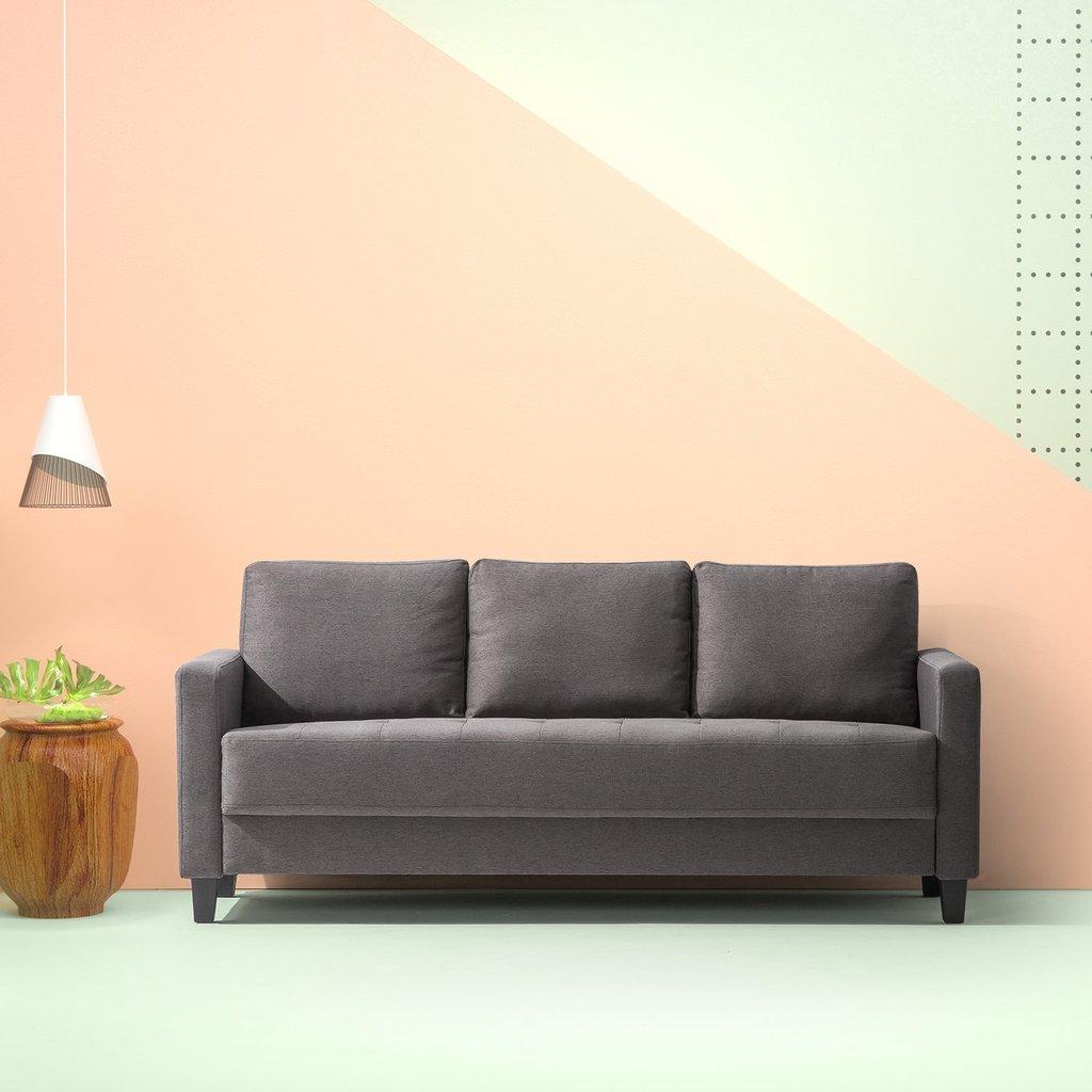 Zinus Modern Upholstered Sofa Steel Grey Free Shipping 279 65
