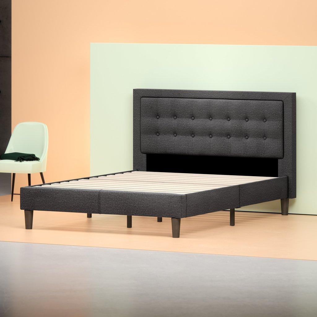 Zinus Upholstered Tufted Center Platform Bed Frame Queen