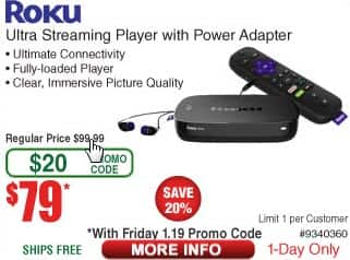Frys have Roku Ultra 4K UHD Streaming Player (2017 Model) for $79 today