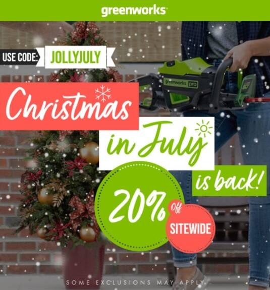 Greenworks Christmas in July 20% Off