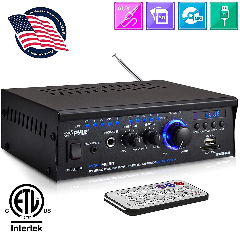 Pyle PCAU48BT Bluetooth Mini Stereo Power Amplifier 2x120W Dual Channel Sound Audio Receiver w/Remote $49.99 shipped