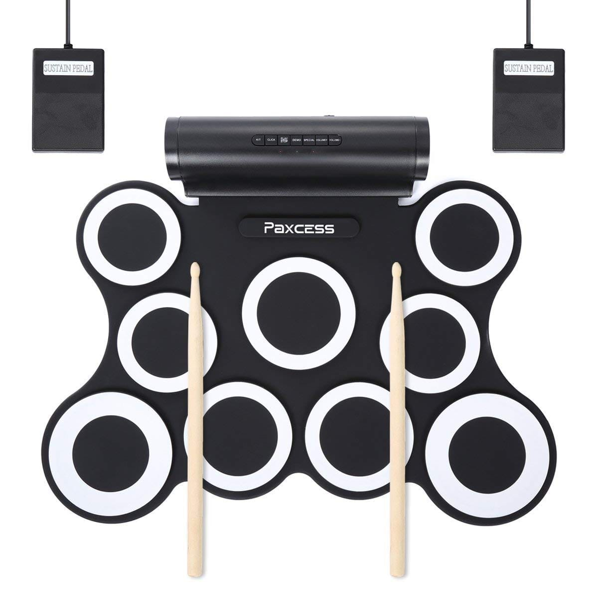 Electric Drum Set, Upgraded Roll Up Drum 9 Practice Pads Electronic Drum Pad Set with Headphone Jack, Built in Battery & Speaker, Drum Sticks and Pedals Portable Drum Kit $47.99