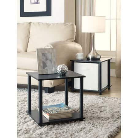 Mainstays No Tools Single Cube Storage Shelf Side Tables in Black, Set of 2 $12