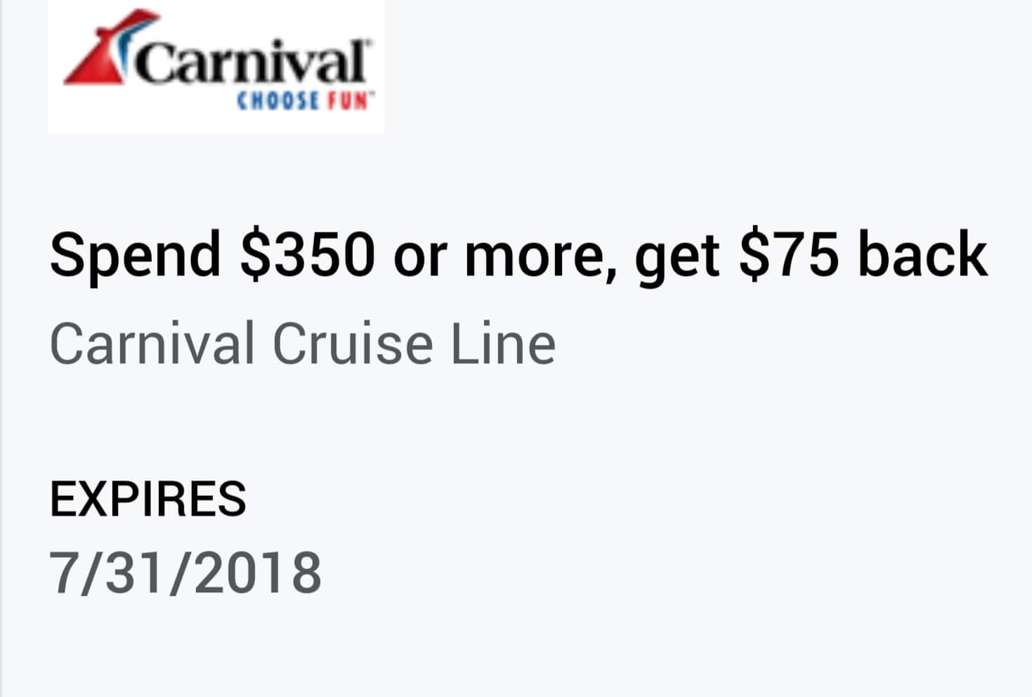 Amex Offers: Carnival Cruise Line 75 Off 350+ YMMV $350