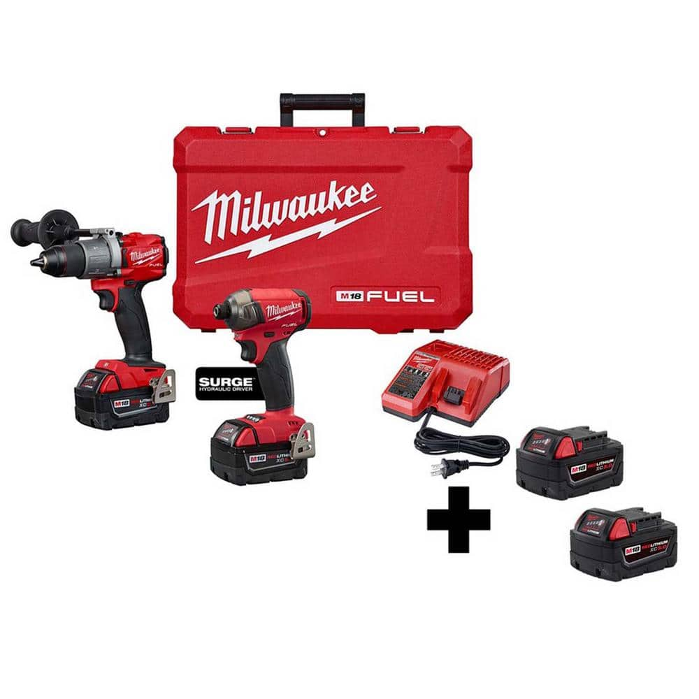 Milwaukee M18 FUEL 18-Volt Lithium-Ion Brushless Cordless Surge Impact/Hammer Drill Combo Kit with 2 Free 5.0 Ah Batteries $399