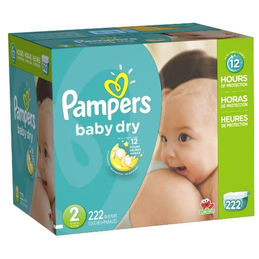 Pampers Baby Dry Diapers Economy Pack Plus, Size 2, 222 Count $25.19 @Amazon + FS w/ prime
