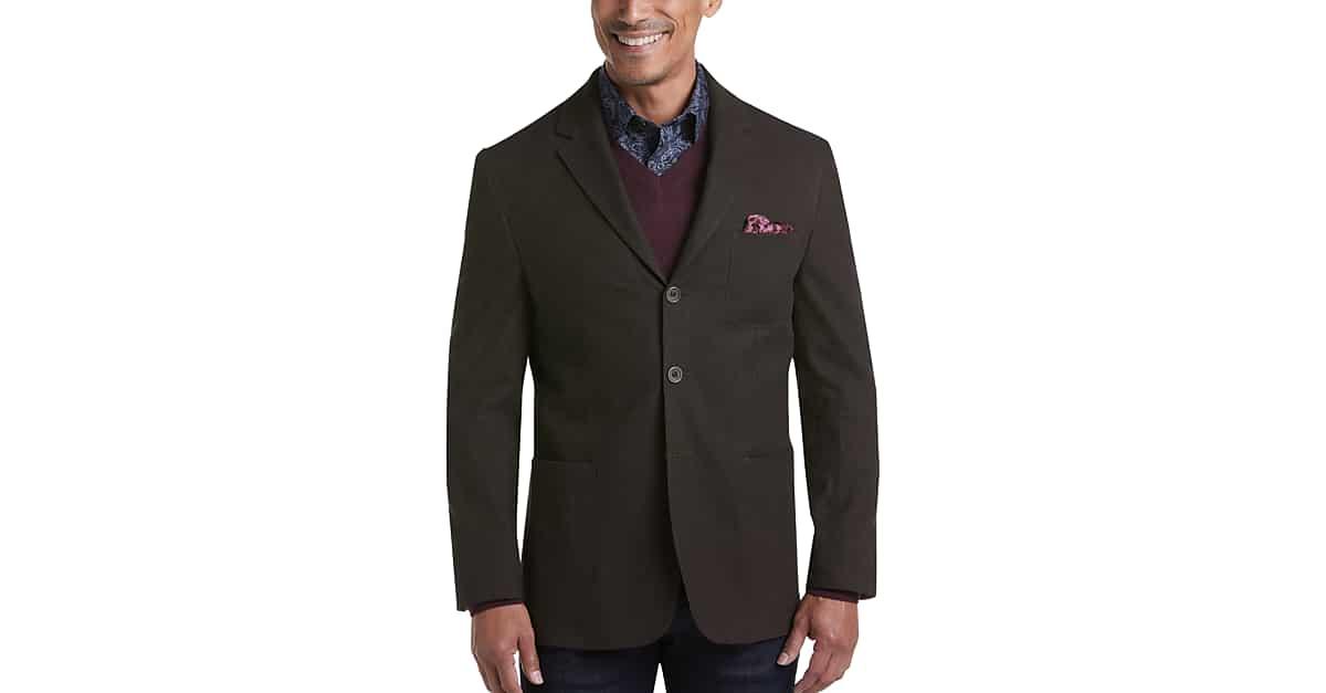 Joseph Abboud Brown Herringbone Modern Fit Casual Coat - Men's Sport Coats | Men's Wearhouse $9.99