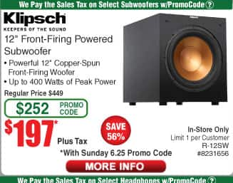 "KLIPSCH 12"" Front-Firing 400W Max Subwoofer (R-12SW) - $197 (regularly $449) @ Fry's, In-Store only, Email promo code"