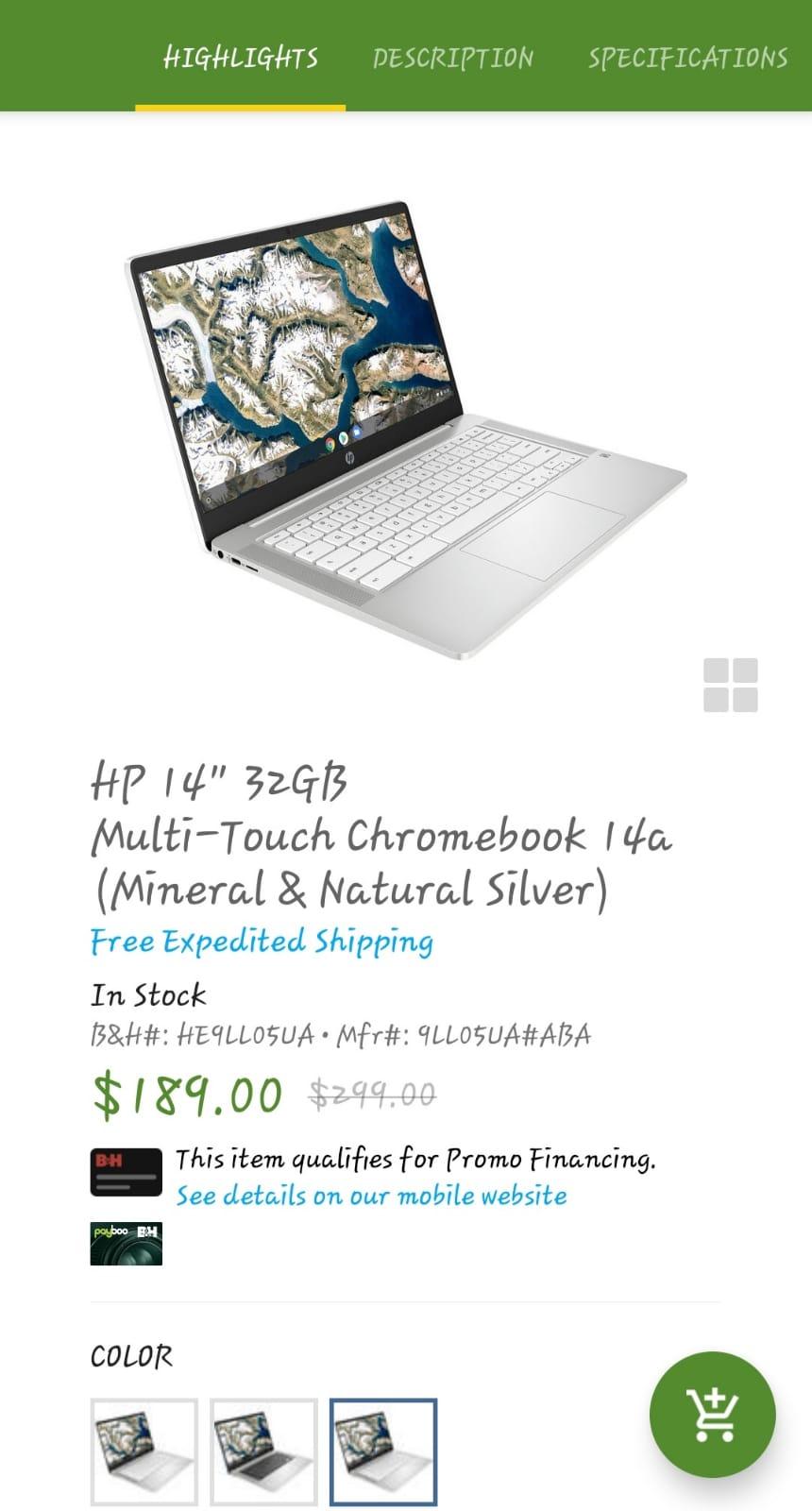 "HP 14"" 32GB Multi-Touch� Chromebook 14a 9LL05UA#ABA B&H $189"