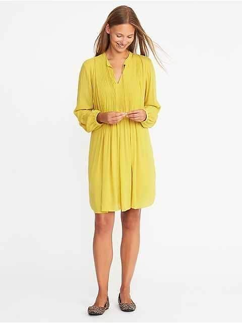 Pintucked Crepe Swing Dress for Women $9.58