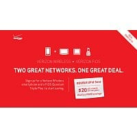 Verizon Broadband Services Deal: $20 off a Month from bill with Verizon FIOS Quantum Triple Play & Verizon Wireless